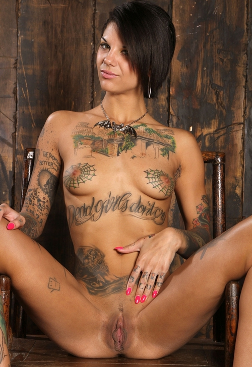 Shaved amp tattooed chick tastes her own pussy and fucks 3