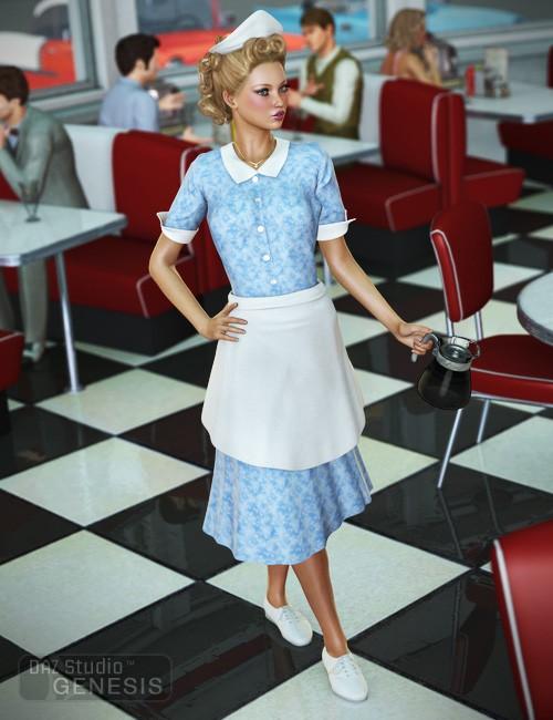 Diner Waitress for Genesis Female - Dot Check
