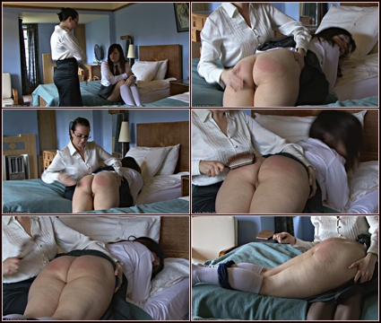 Helena Thrashed With The Hairbrush   Spanking