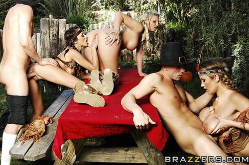 Phoenix Marie, Breanne Benson, Alanah Rae - Thanksgiving Lay